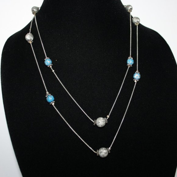 """Silver and blue ball bead chain necklace 44"""""""
